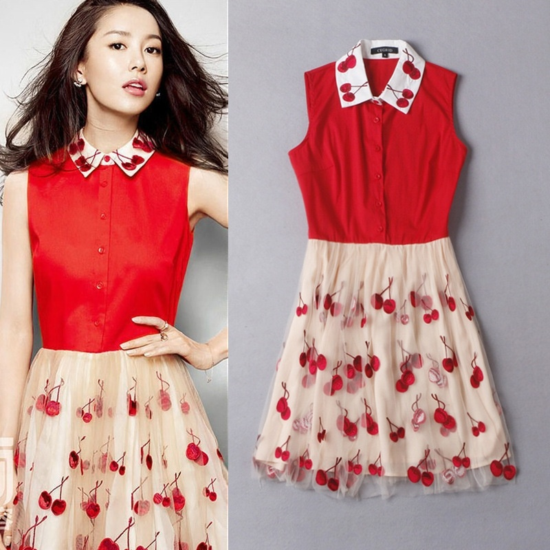 d8ebeb1659c64 Lapel Collar Embroidery Cherry Organza Dress Sleeveless Dress on Luulla