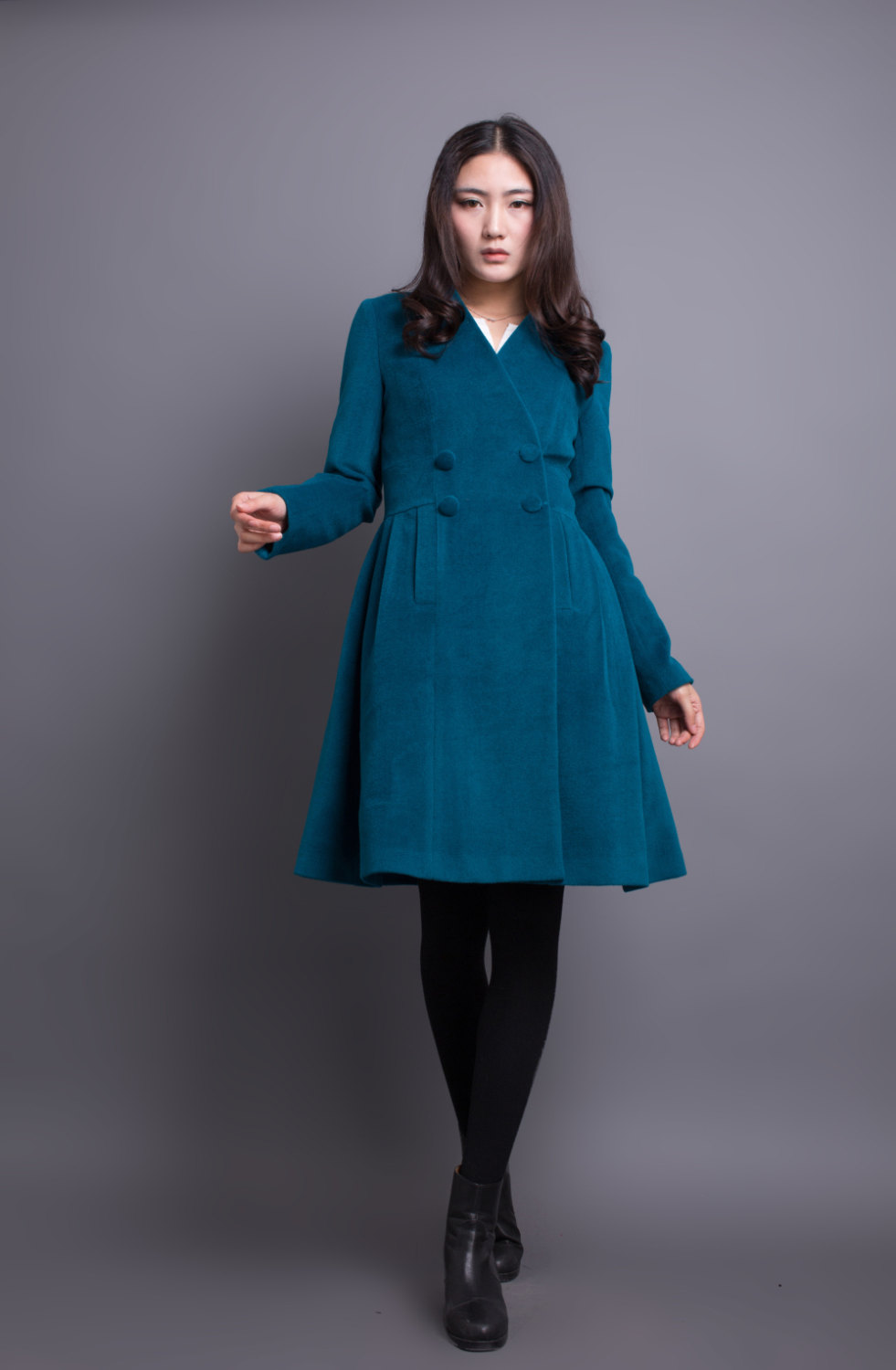 08417bfa4370a Peacock Blue Coat Pleated Wool Winter Coat Women Long Jacket on Luulla