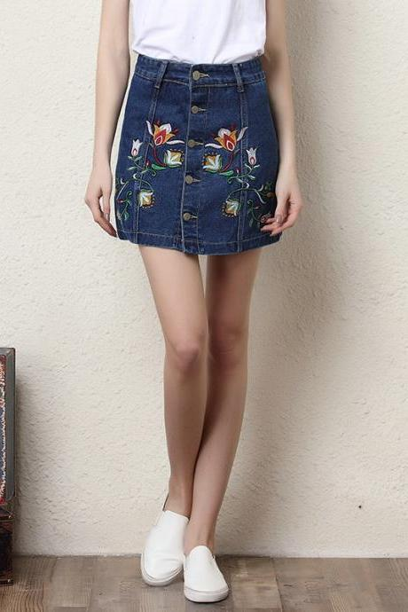 Floral Embroidered Denim Button Down Mini Skirt