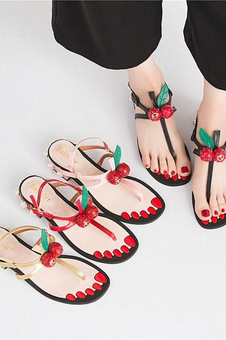 cute pearl cherry thick heel soft sole patchwork color hasp women sandals (2Za3Gq)